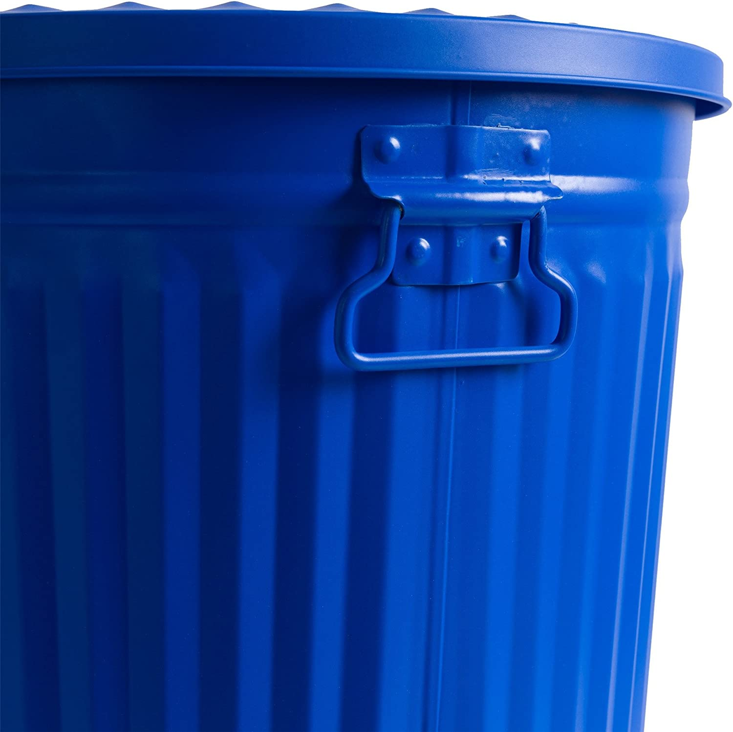 Laundry Basket with Lid and Carrying Handles Blue 7 Litres Metal Garbage Bin Vintage Retro Trash Can Home/&Decorations Indoor Dustbin