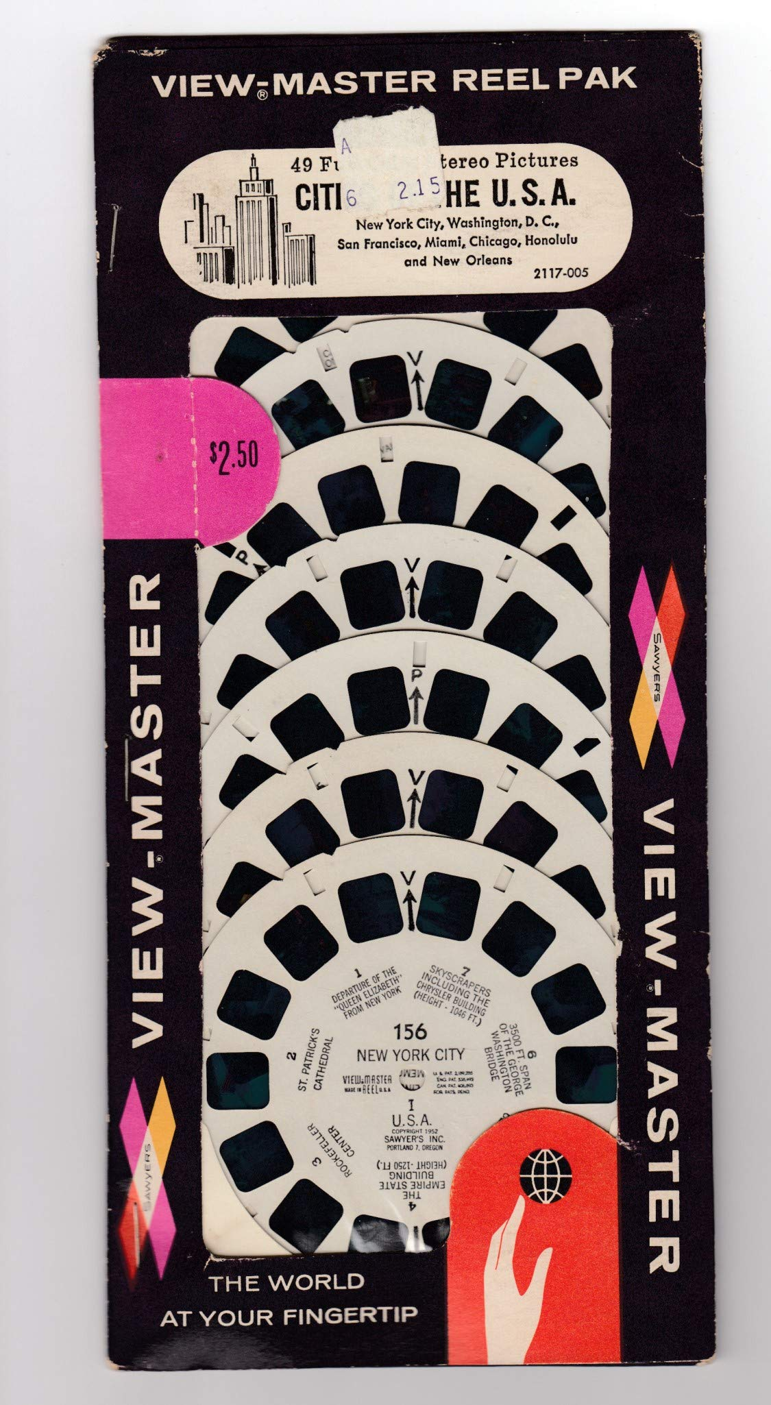 View Master SAWYER'S Reel PAK Cities of The U.S.A. Unopened 7 REELS York City, Washington D.C. SAN Francisco, Miami, Chicago, Honolulu Orleans