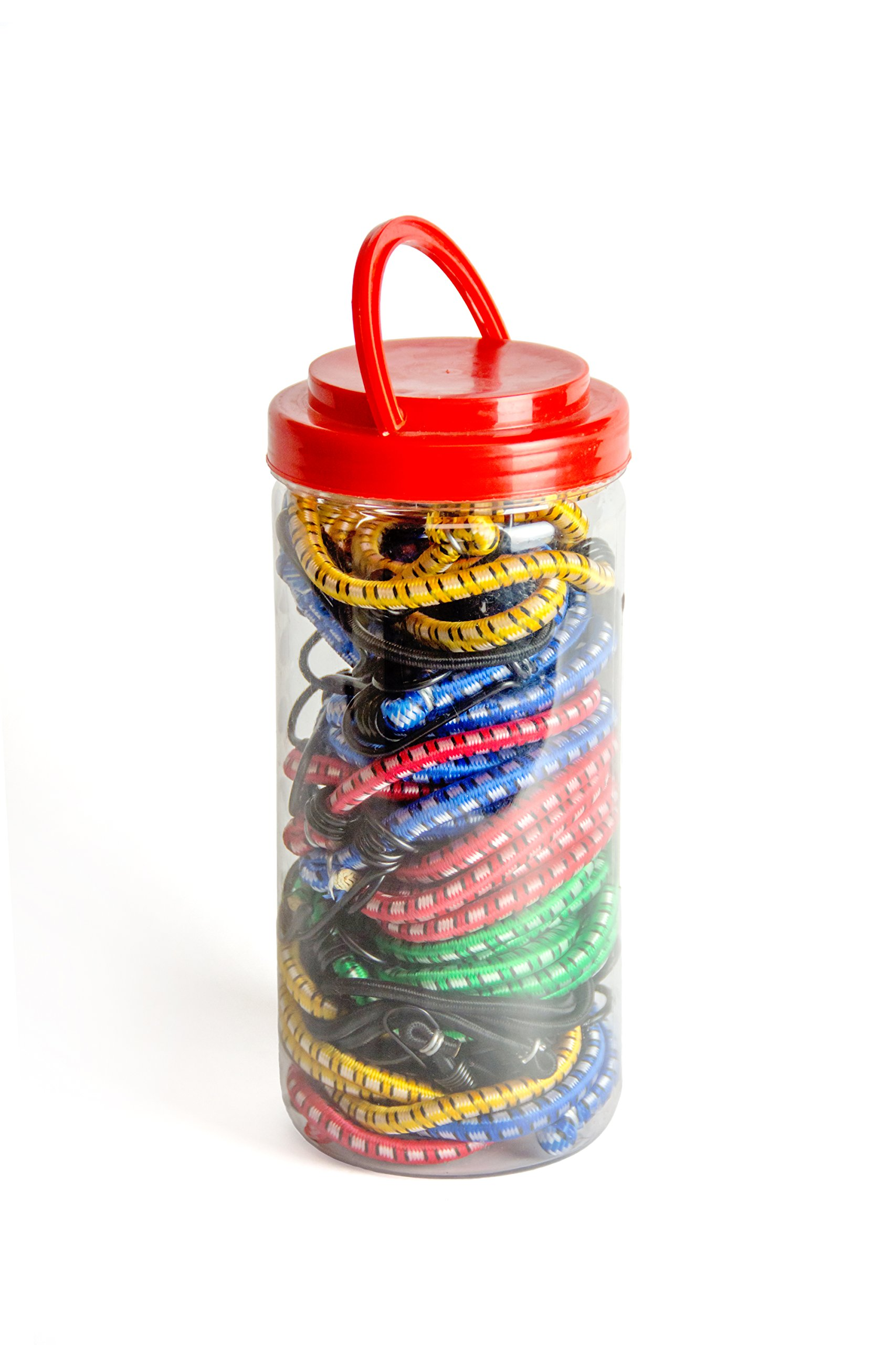 """Bungee cord assortment jar offers top quality rubber from Safe N' Tied. Bungees include 6-18"""", 4-24"""", 2-32"""", 2-40"""", and 6-10"""" cords, plus 4-canopy ties that hold in the harshest elements."""