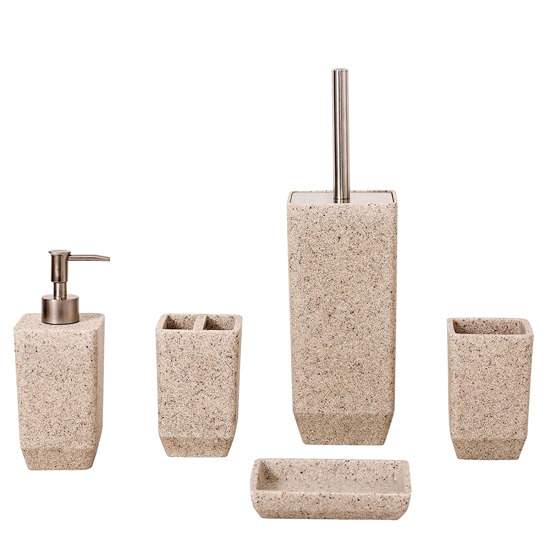 3 Piece Stone Ceramic Bathroom Set Soap Dish Tumbler /& Dispenser Grey White Sand