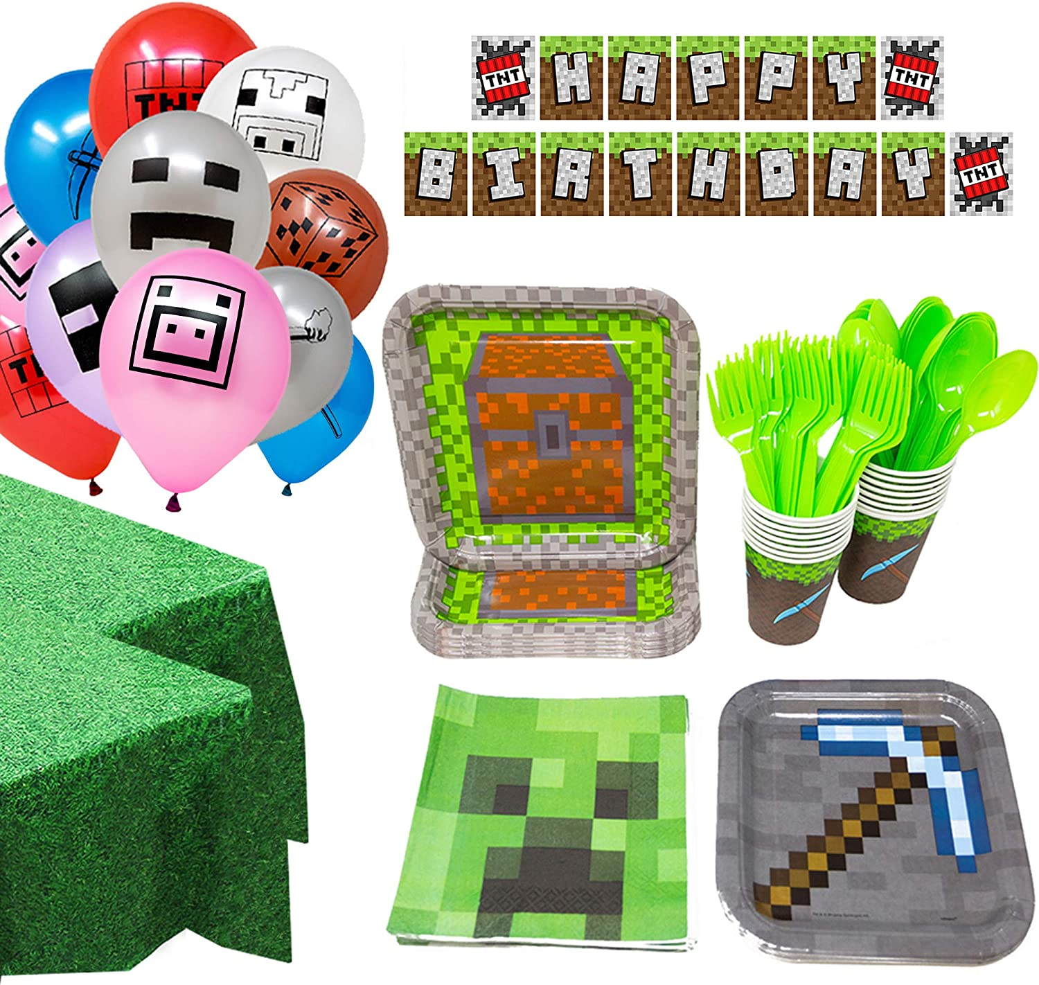 Bundle for 16 Dessert Plates Beverage Napkins Cups and Table Cover with Birthday Candles Minecraft Theme Party Supplies Pack Serves 16