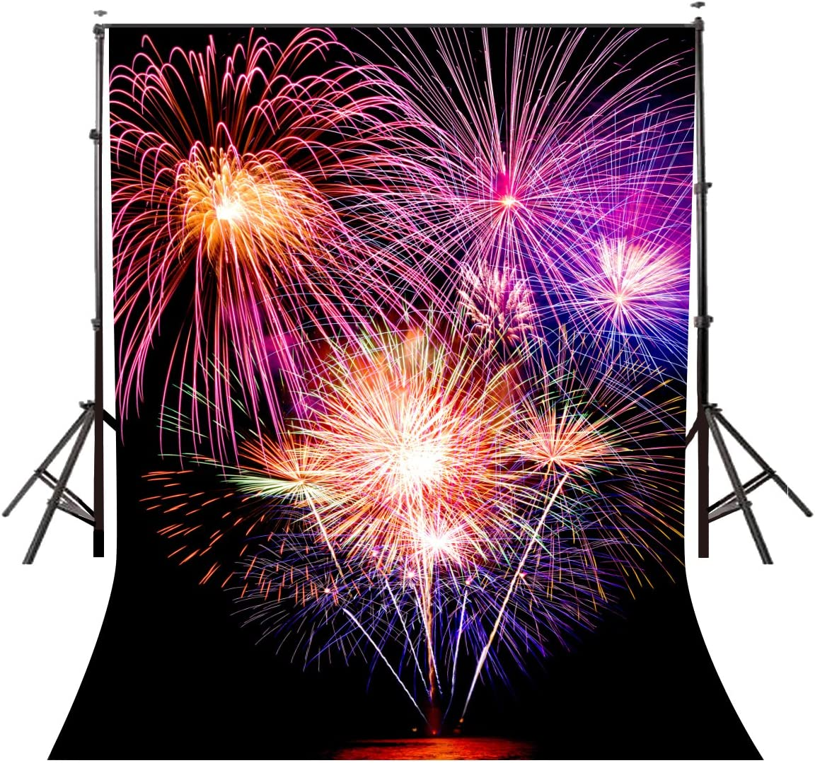 Lyly County 5/×7ft Picture of Colorful Fireworks on Black Booth Background Studio Props Photography LYGE068