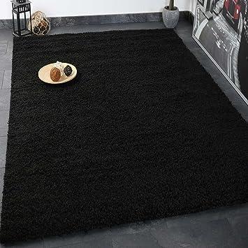 Teppich schwarz  Prime Shaggy Teppich Schwarz Hochflor Langflor Teppiche Modern für ...