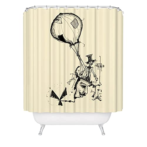 Flying Machine Shower Curtain Vintage Inventor Artwork Balloon Invention Aviation Rube Goldberg Fabric Made