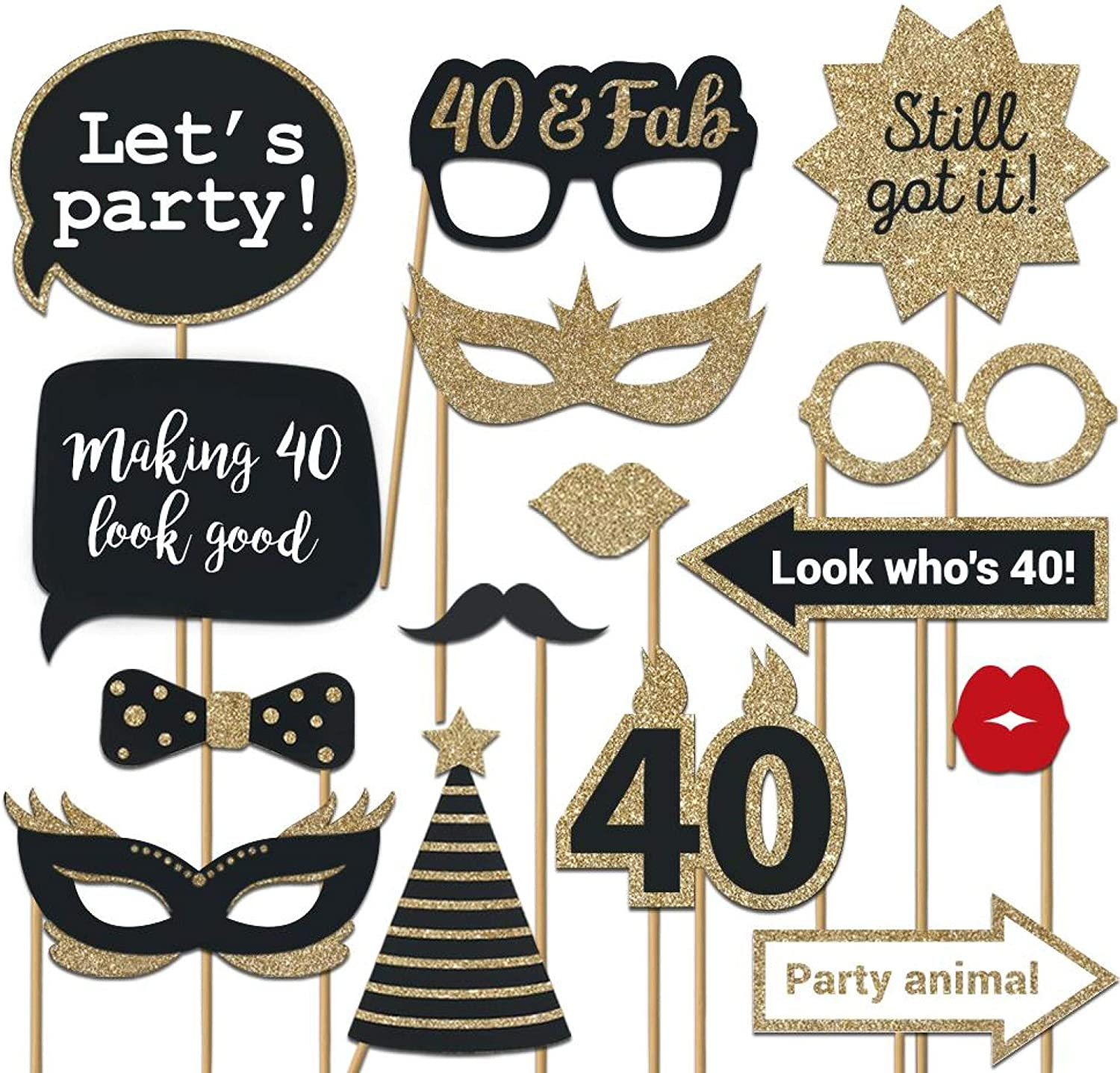 Fully Assembled 40th Birthday Photo Booth Props - Set of 30 - Black & Gold Selfie Signs - 40th Party Supplies & Decorations - Cute 40th Bday Designs with Real Glitter - Did we mention no DIY?