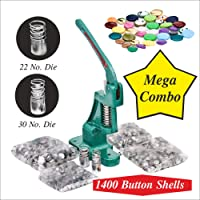 NAVEEN Metal Button Press Machine Kit , 22-30 Dies and 1400 Button Shells Combo Pack