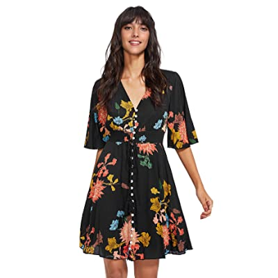 Milumia Women's Boho Button Up Split Floral Print Flowy Party Dress at Women's Clothing store