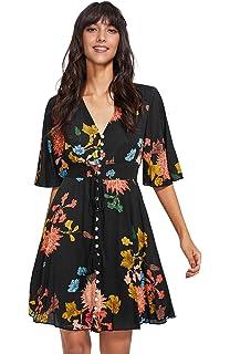7351714bbda0a Milumia Women s Button Up Split Floral Print Flowy Party Maxi Dress ...