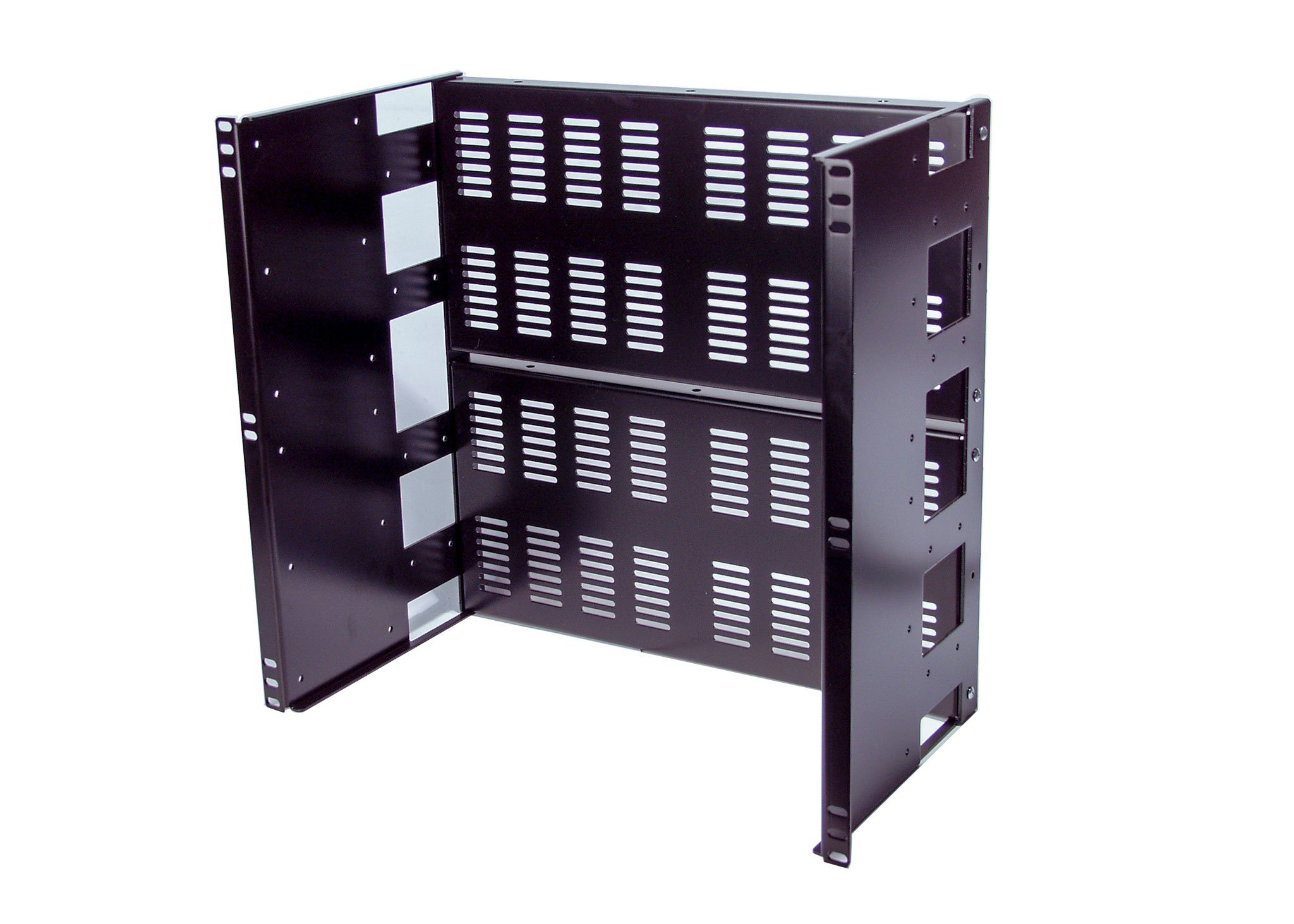 10U Rackmount Vented Adjustable Recessed Panel for general purpose application in a standard 19'' 2-post or 4-post server rack (Vented)