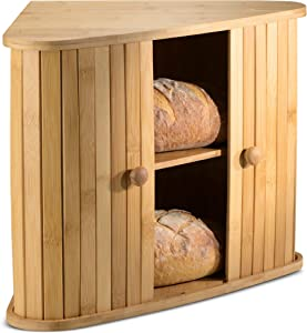 Klee Wooden Bread Box | Bamboo Bread Holder | Corner Bread Keeper Storage Box, Fully Assembled