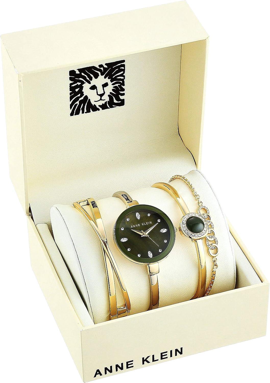 Anne Klein Women's Swarovski Crystal Accented Watch and Bracelet Set Olive, Gold-Tone