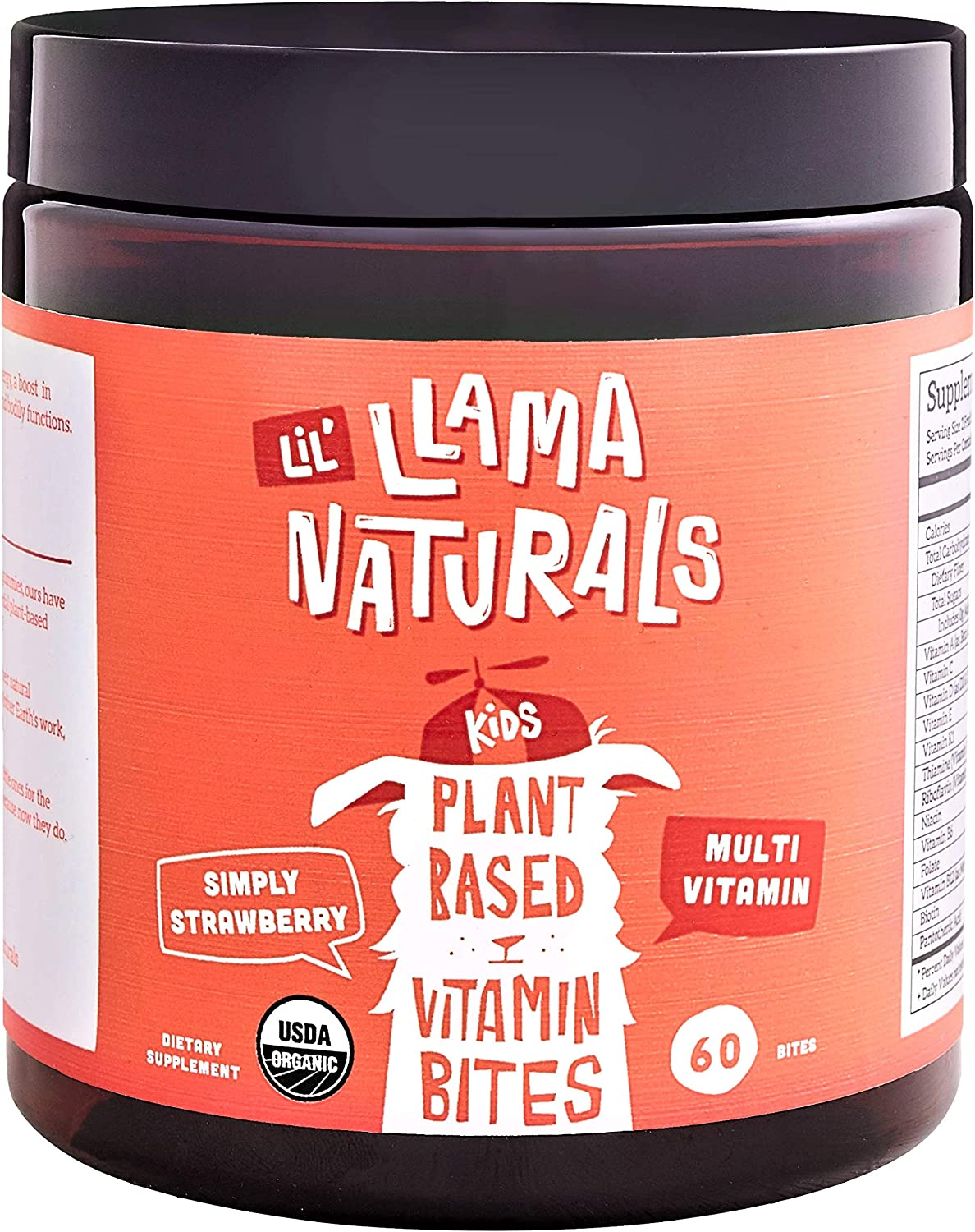 LLama Naturals Plant Based Vitamin Bites (Kids); Organic; No Added Sugar, Sweeteners or Synthetics; Vegan Multivitamin Gummies (D3, B12, Folate & More); 60 Real Fruit Bites (30 Days) (Strawberry)