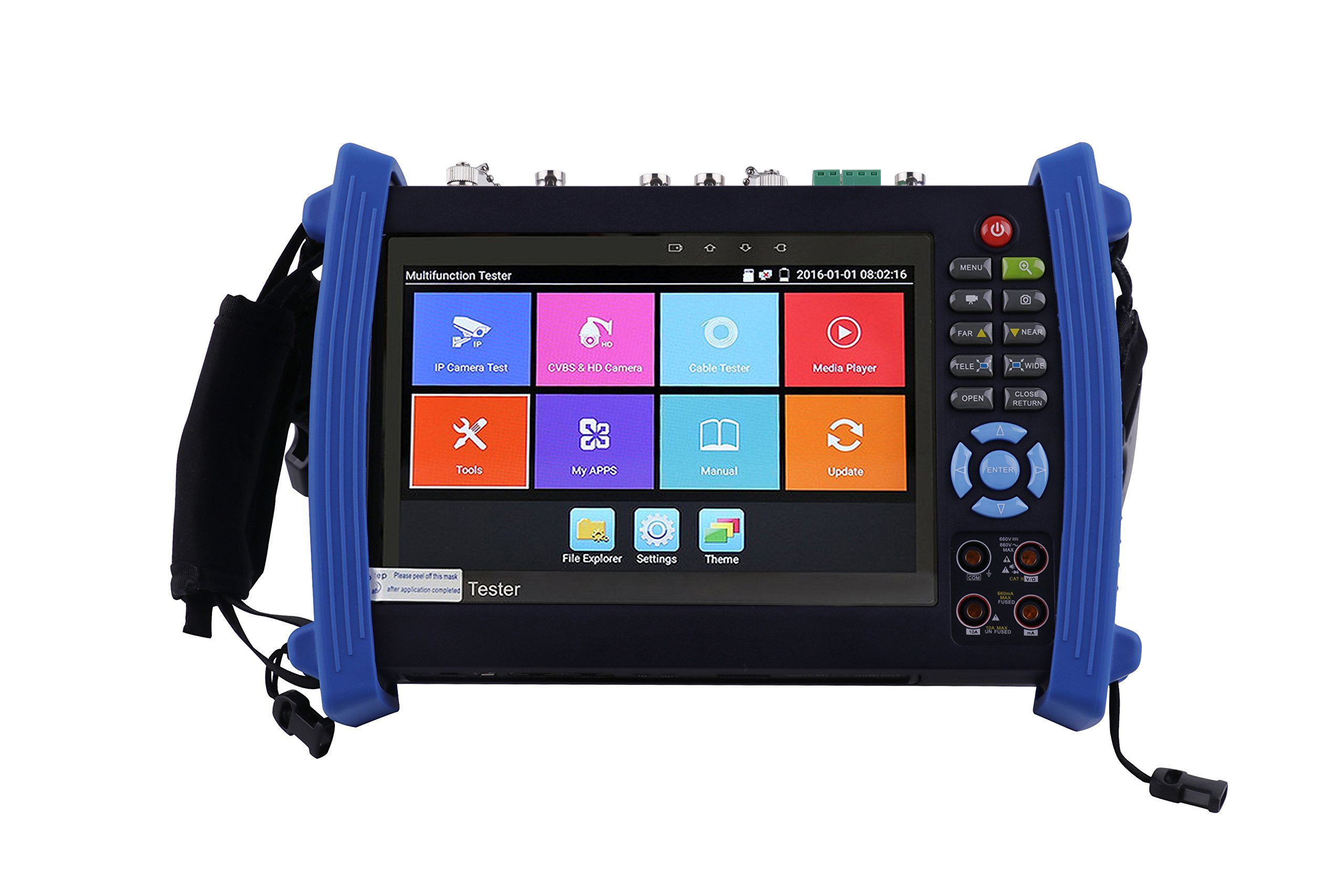 CCTVMTST 7inch Retina Display Touch Screen CCTV IP Camera Onvif Analog Tester With HD-TVI/CVI/AHD/SDI/PTZ/POE/WIFI/4K H.265 & 264/HDMI In & Out/RJ45 TDR/DMM/Optical Power Meter/VFL(8600MOVTADHS-Plus) by CCTVMTST