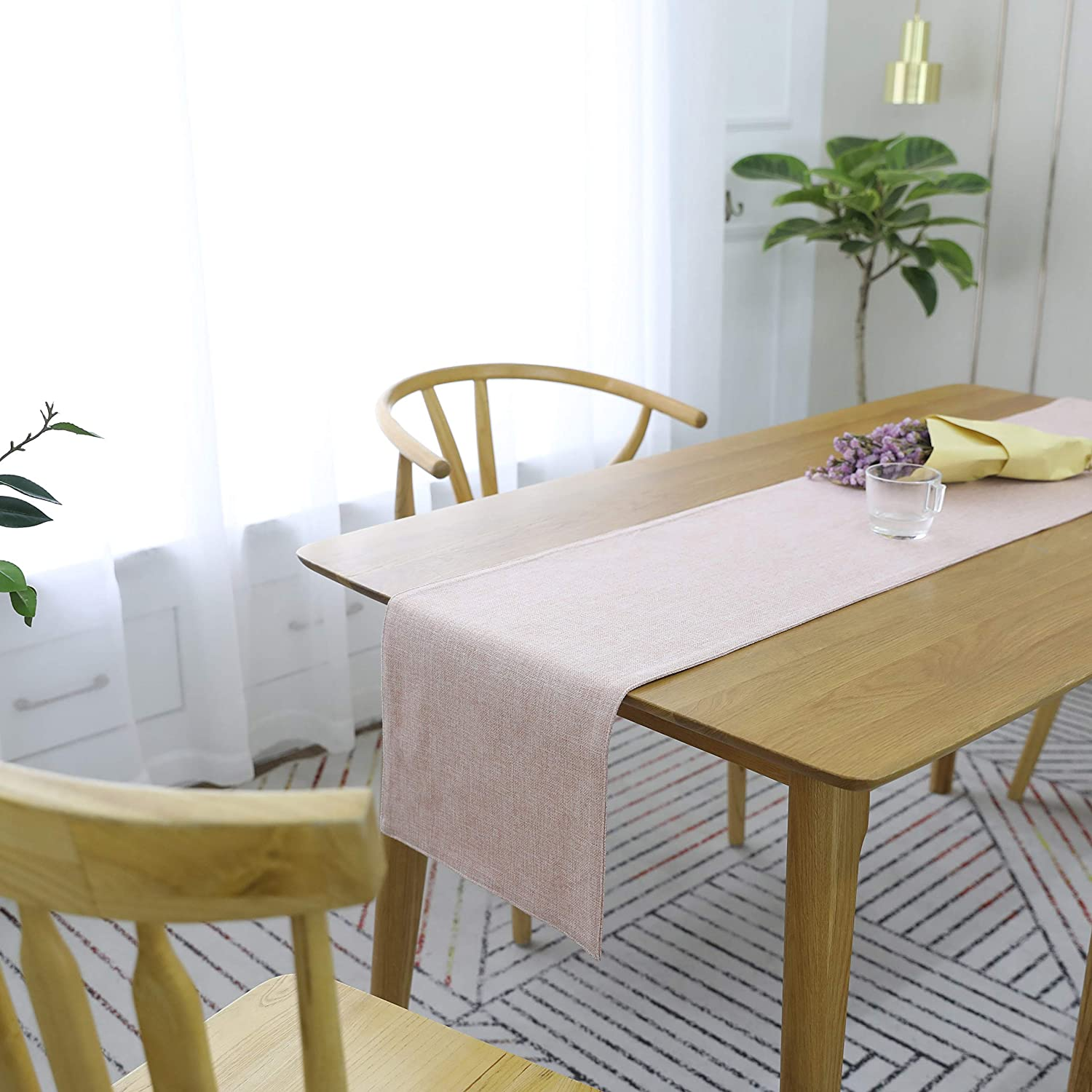 HOME BRILLIANT Burlap Table Runner Dresser Scarf Imitated Linen Table Runners 12 x 72 Inch for Parties Holidays and Daily Use, Pink