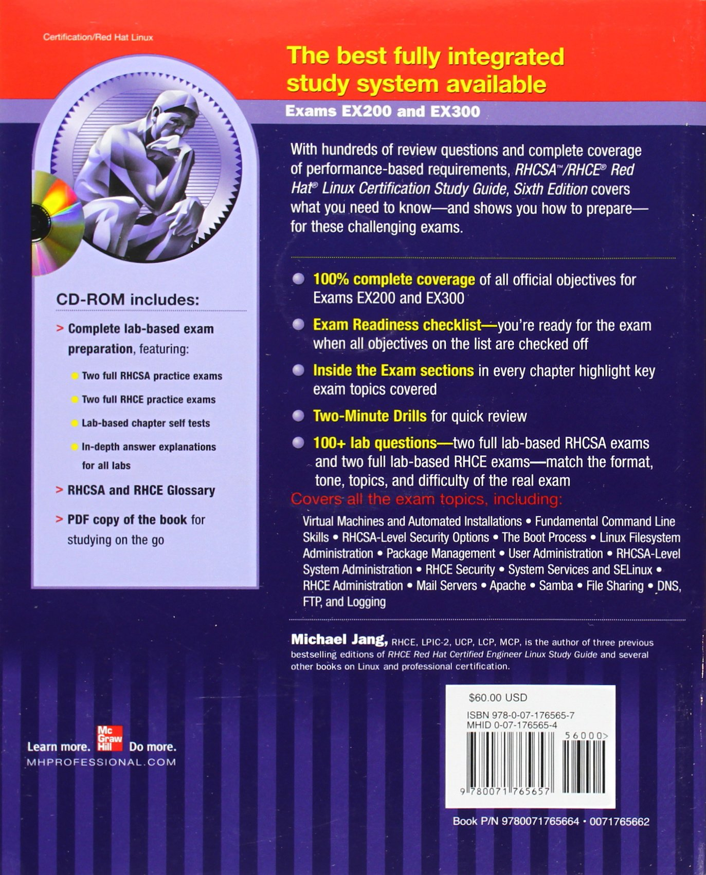 Rhcsa rhce red hat linux certification study guide cd rom amazon de michael jang fremdsprachige b cher