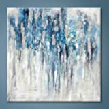 Abstract Wall Art Canvas Picture: Blue and Gray Artwork Modern Painting for Bathroom