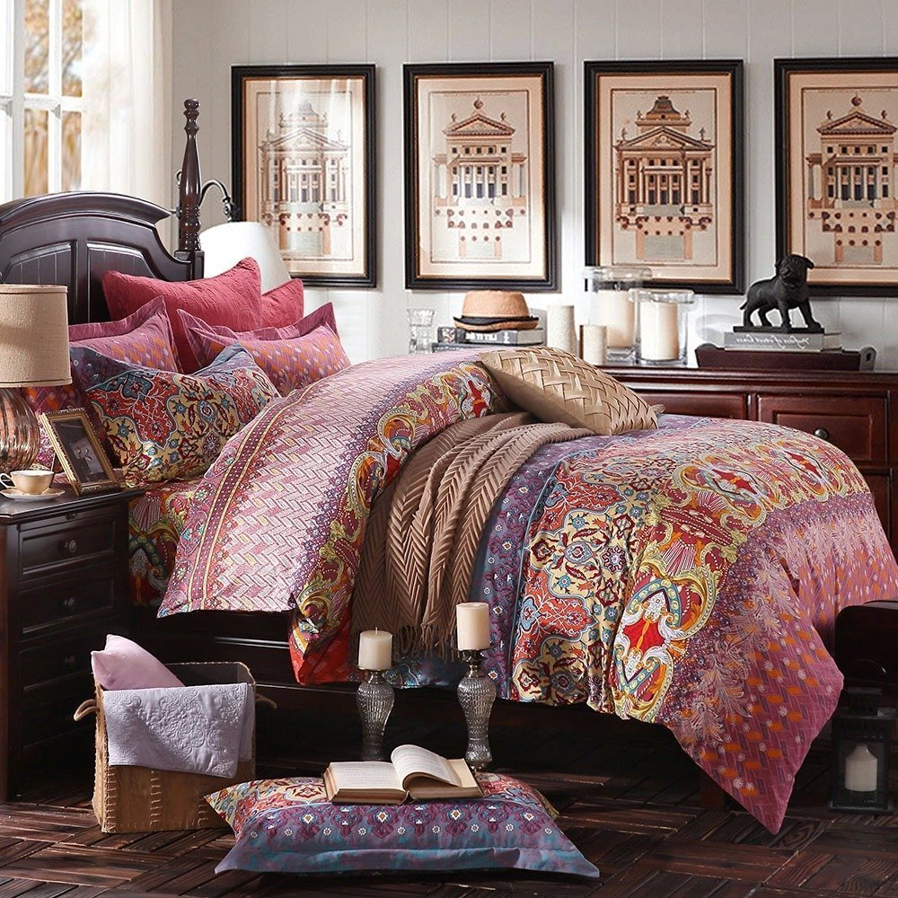 FADFAY Bohemian Exotic Colorful Ethnic Style Bedding Sets, Cotton Boho Style Bedding Set, Boho Duvet Cover, Queen King Size 4pcs (California King)
