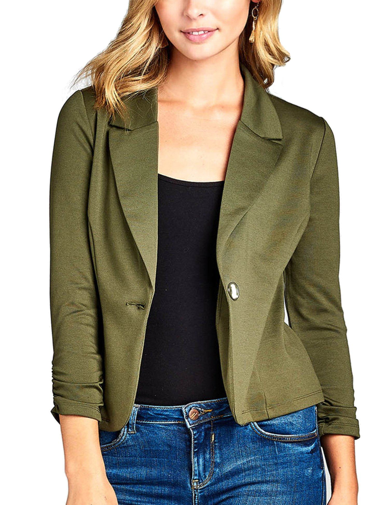 KOGMO Womens Classic 3/4 Shirring Sleeve Solid Color Casual Blazer-M-Olive