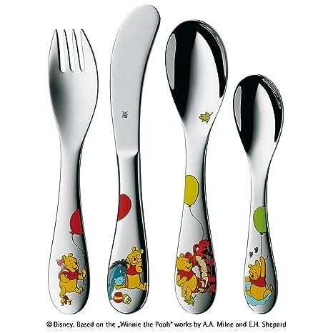 WMF Disney Winnie the Pooh - Cubertería para niños 4 piezas (tenedor, cuchillo de