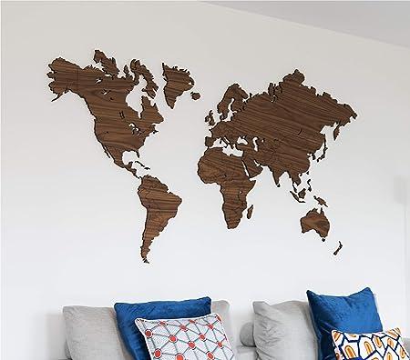 City Shapes 3d Weltkarte Aus Holz Hochwertige Wanddekoration
