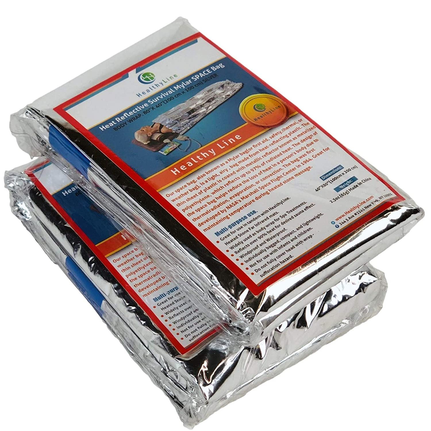 HealthyLine - Emergency Mylar Thermal Space Sleeping Bags (2 Pack) - for Detox & Weight Loss Sauna Experience, Far Infrared Therapy - Retains up to 97% of Body Heat - Silver 80in x 40in