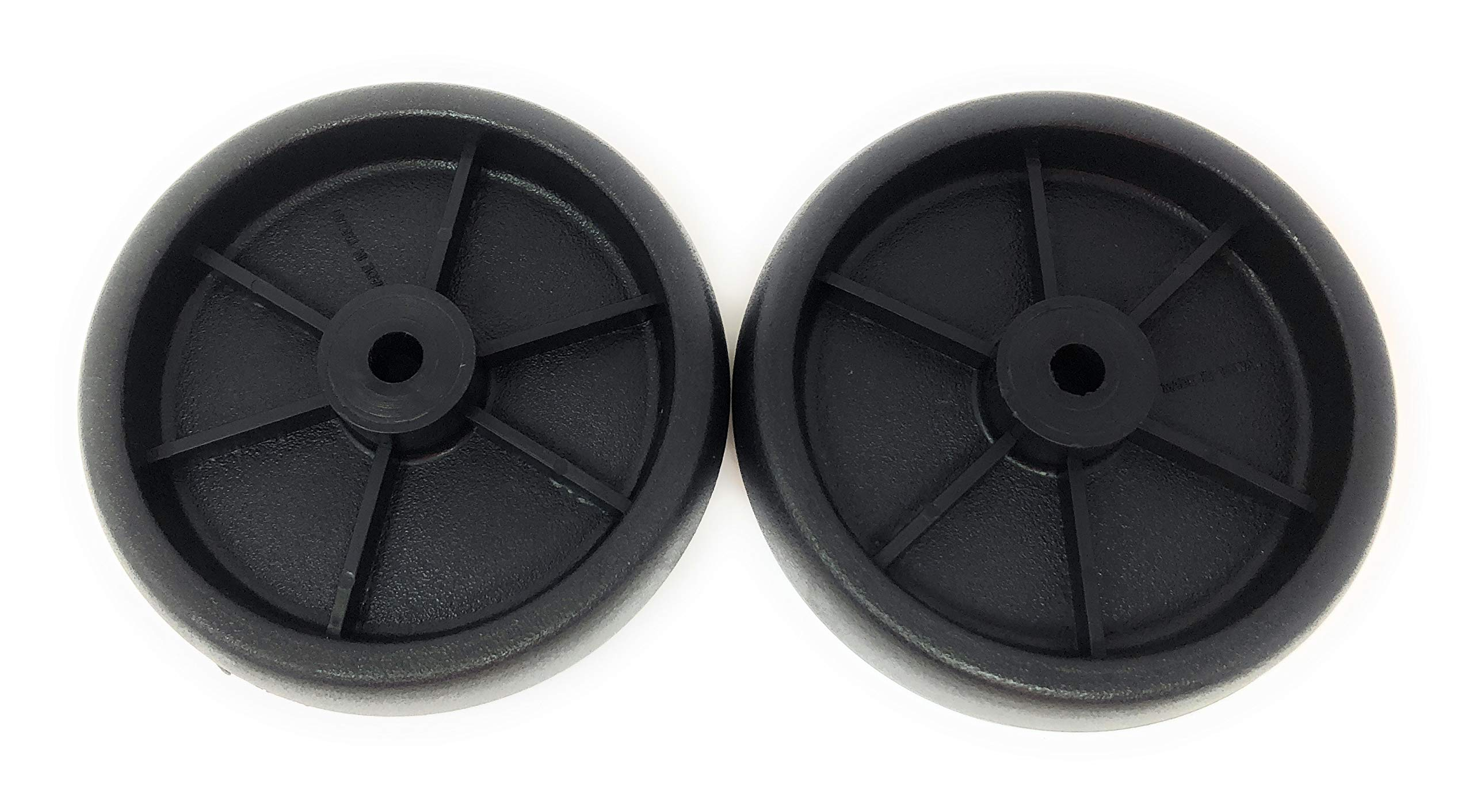 "Nickanny's Set Of 2 Replacement BBQ Grill Wheels Pair Set Kit-Solid Plastic Wheel 5"" x 1.5"" w/ 3/8"" Axle Hole for Outdoor Charcoal Gas Smoker Barbecue Pit- Rueda and Llantas Parts"