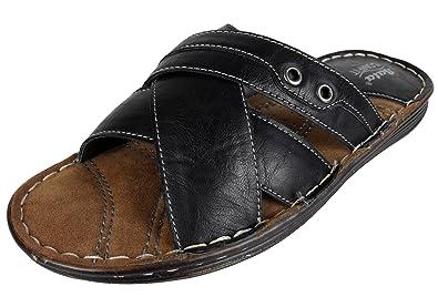 Sandals 678910 Tongs Dessus Pour Homme En Noir 11 Bata Taille Cuir 12 Rembourré n08wkONPX