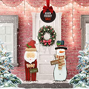 TemwJa 2Ft Christmas Decorations Metal Handicraft Snowman&Santa Xmas Yard Sign Decor Iron Craftmanship Gifts Indoor 2 Pack