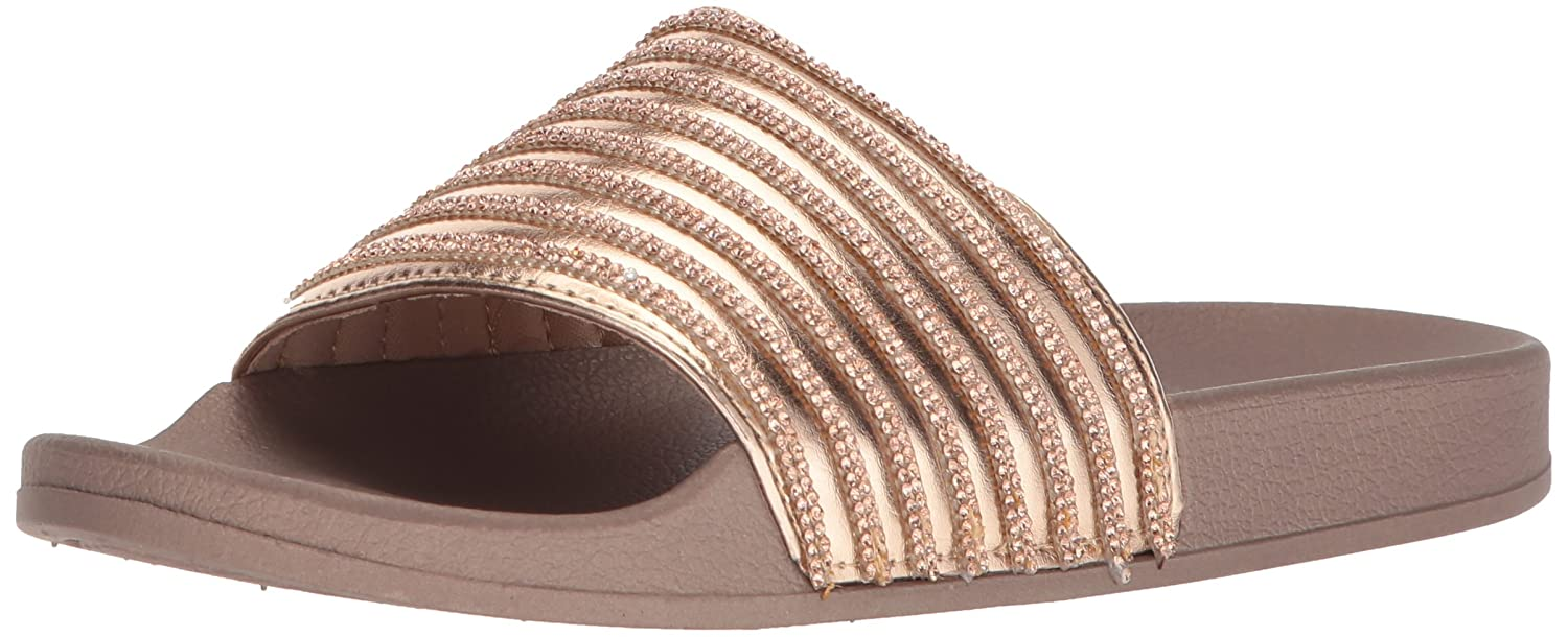 Kenneth Cole REACTION Women's Pool Game Sporty Thin Stripes Slide Sandal B077L24NNR 7 B(M) US|Rose Gold