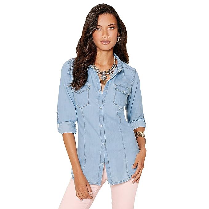 VENCA Camisa con automáticos Mujer by Vencastyle - 110373: Amazon.es: Ropa y accesorios