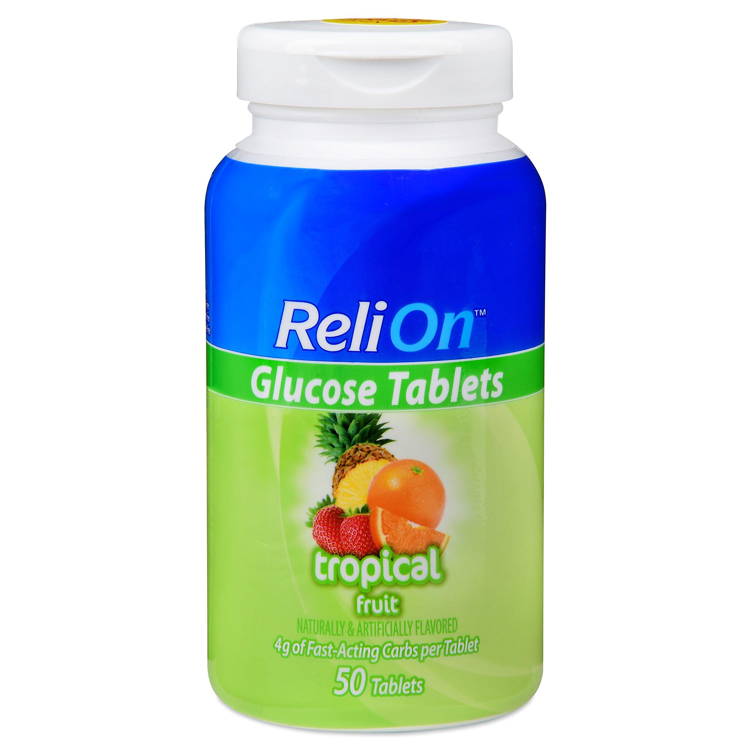Relion Glucose Tablets - Tropical Fruit Flavor - 50 counts