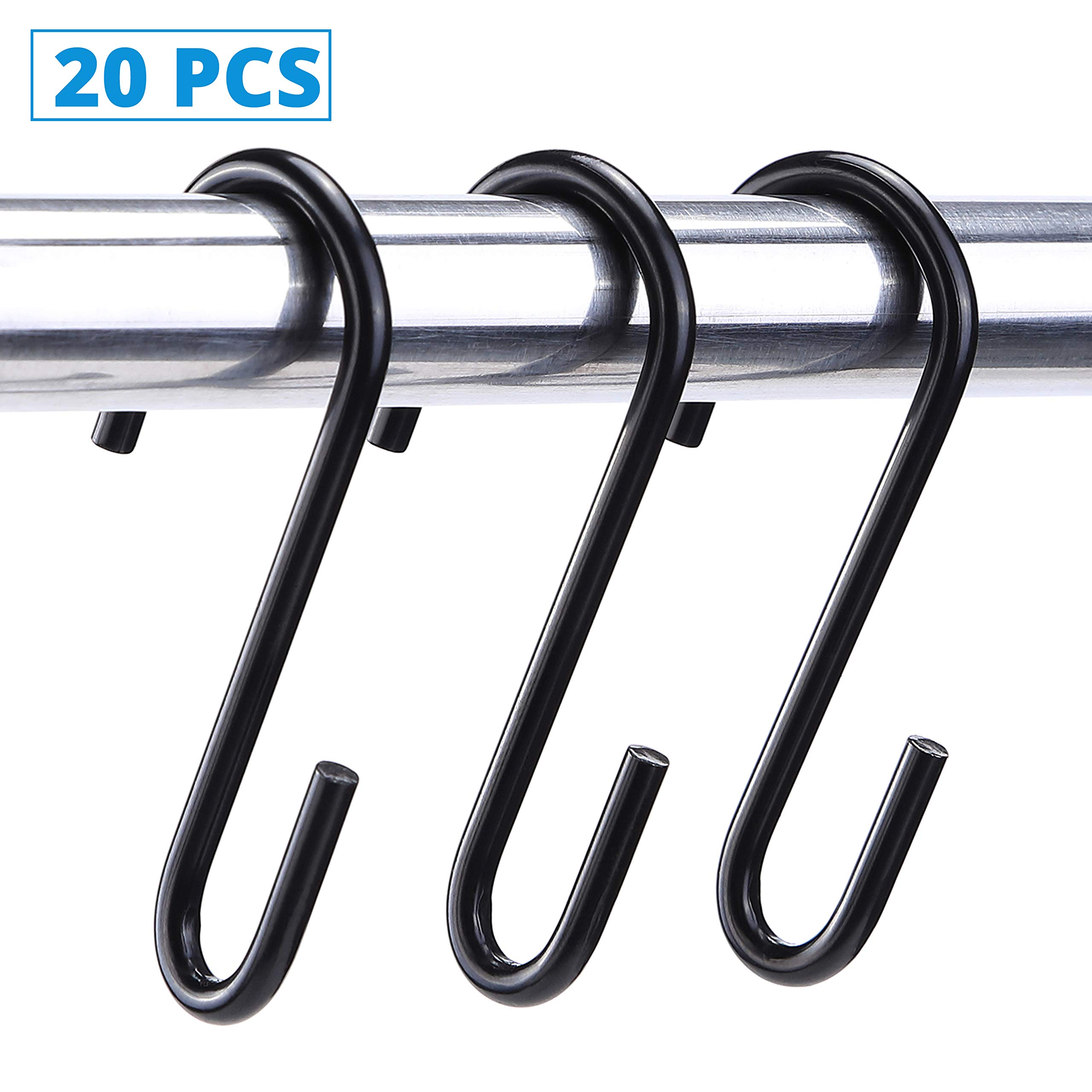 Rivexy S Hooks - Pack of 20 Black Carbon Steel