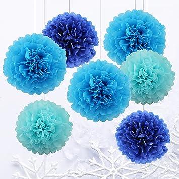 7 Pcs Mixte Pompons En Papier De Soie Boules Fleurs Papier Diy