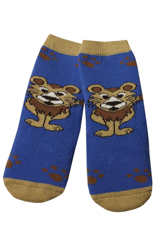 Weri Spezials Baby-Unisex Terry ABS Lionet Slippers Anti Non Slip Socks Blue
