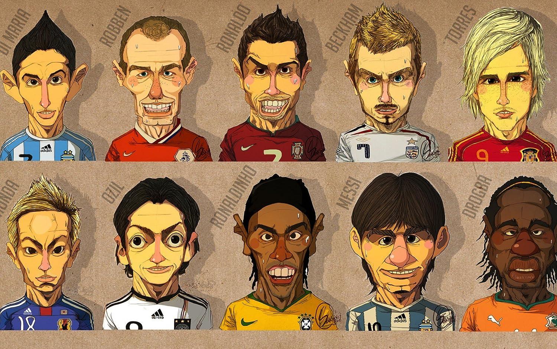 Amazon Com Cristiano Ronaldo Arjen Robben Messi Cartoon Poster Art Print 032s 22 4 X14 Posters Prints