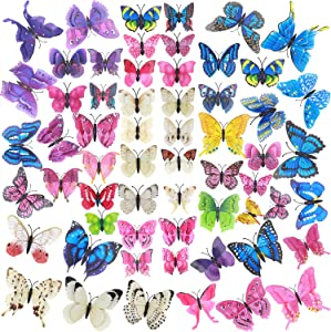60 Pcs Colorful 3D Butterfly Wall Art, Assorted Removable Butterfly Party Decorations Mural Room Decor, Removable Butterflies Wall Decal with Adhesive Stickers for Girl Birthday Party Room & Cupcake