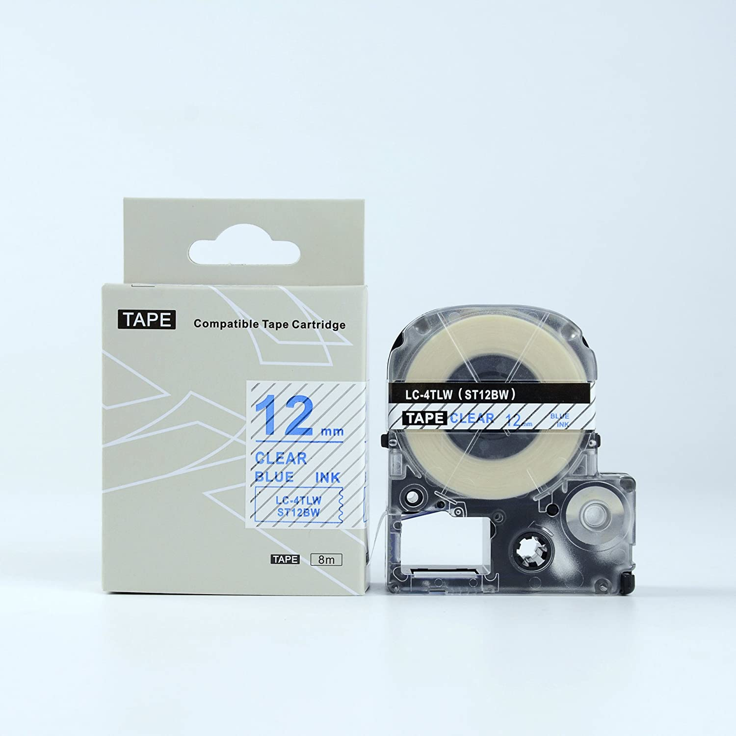 EPSON12mm LC-4TLN Compatible Label Tape Blue on Clear 12mm 8m lw300 400 500