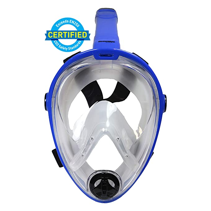 Deep Blue Gear Vista Vue Full Face Snorkeling Mask, Yellow/Clear Silicone, Large/X-Large best snorkel mask