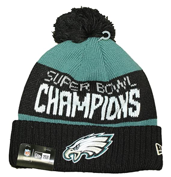 newest 56223 d85b9 Amazon.com   New Era 100% Authentic, NWT, Philadelphia Eagles 2018 Super  Bowl LII Champions Green Black Cuffed Pom Knit Hat   Clothing
