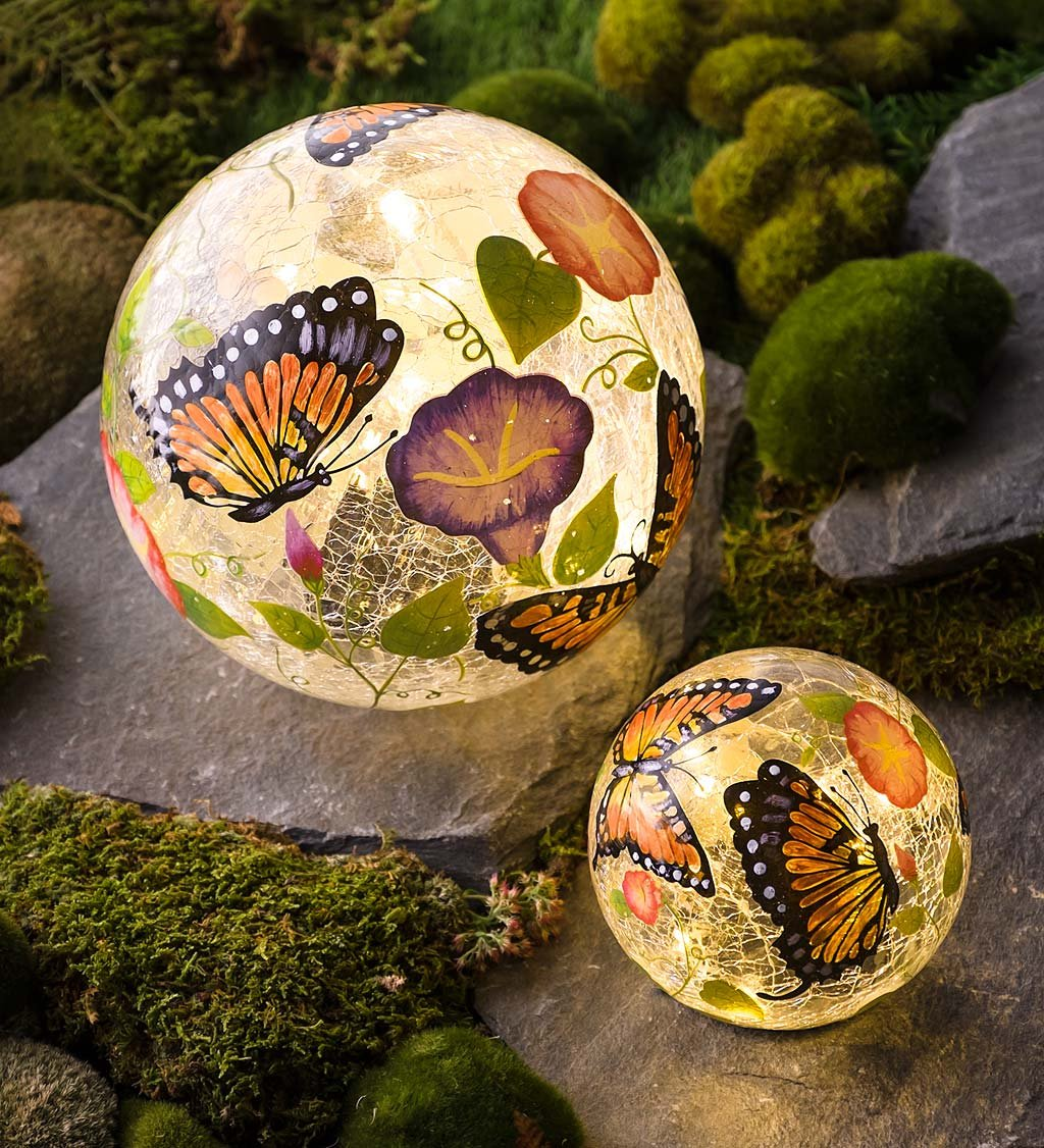 Plow & Hearth Set of 2 Hand Painted Butterfly Crackle Glass Solar Lighted Decorative Garden Globes, Small 5'' Diam, Large 8'' Diam.