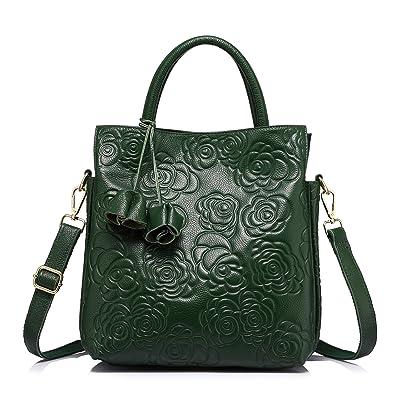 1d741baa22b Designer Genuine Leather Handbag Women Tote Bag Floral Embossed Shoulder Bag  by Realer Green
