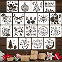 18 Pieces Christmas Stencils Reusable Plastic Craft Xmas Painting Stencils for Journal Template, Wood, Rocks and Walls…