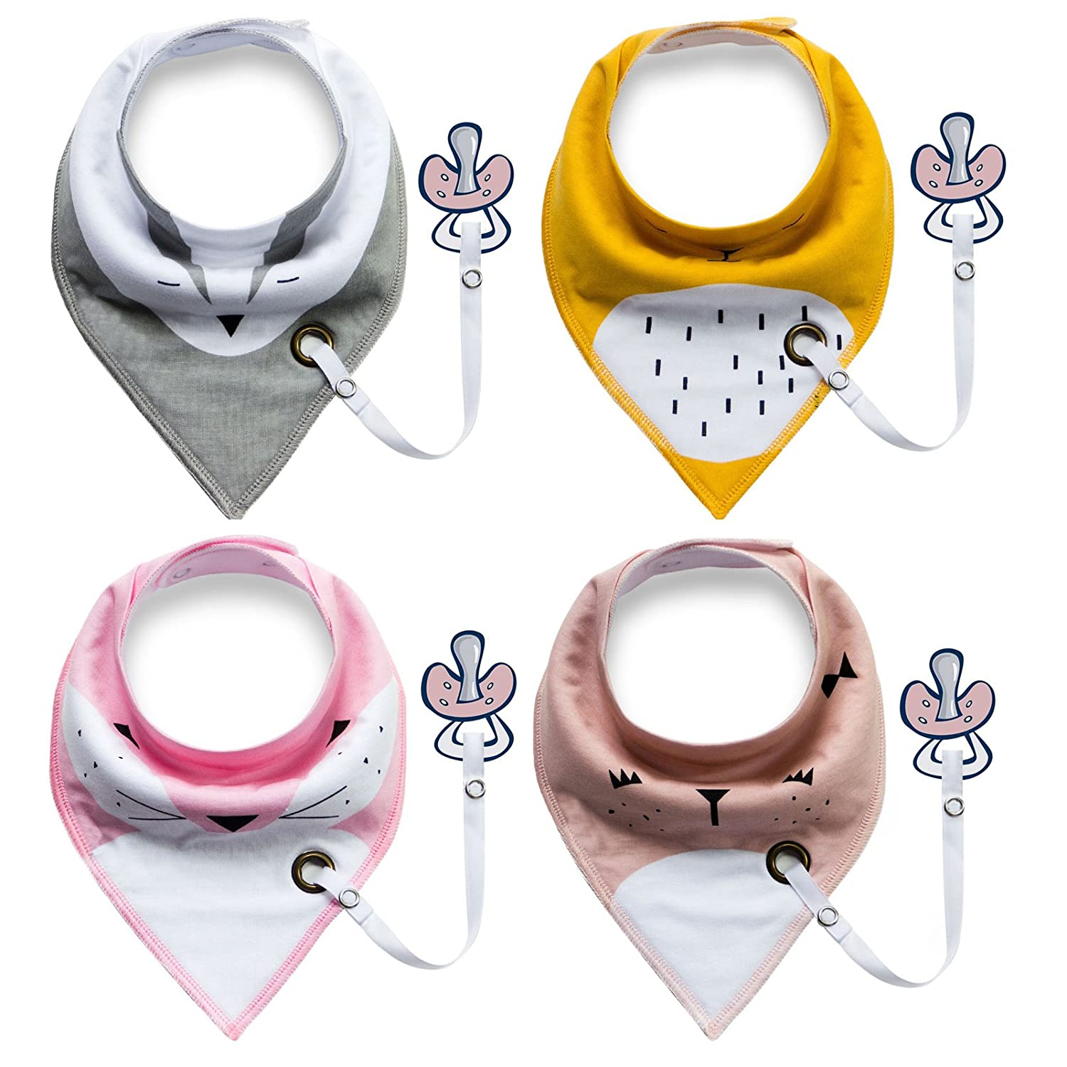 4-Pack Unisex Baby Toddlers Bandana Drool Bibs with Snaps Soft Organic Cotton Unique Shower Gift Set Super Absorbent for Teething Feeding Fashion Adjustable with Pacifier Clip MY007G