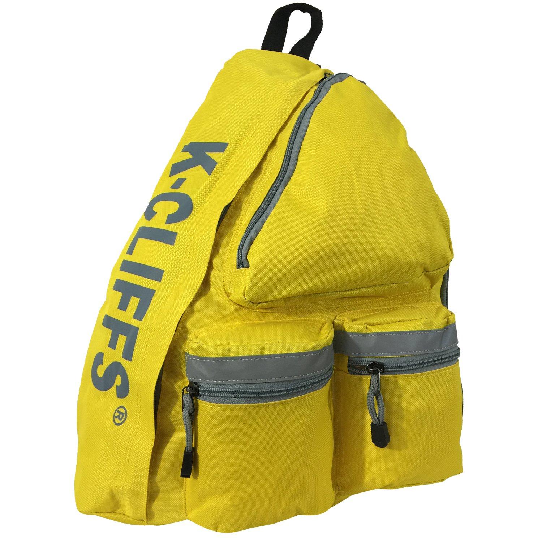 K-Cliffs 反射材スリングバックパック ボディバッグ メッセンジャーバッグ デイバッグ 学生教科書バッグ 安全な明るい黄色   B01NBXAKXX