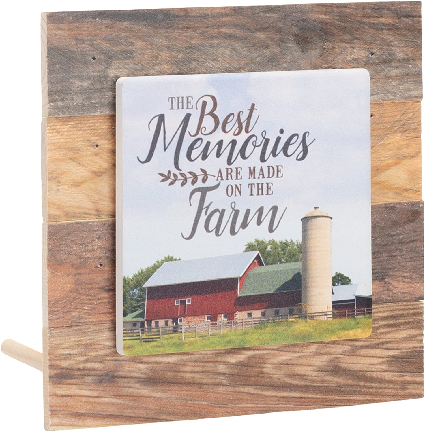 P. Graham Dunn Best Memories Made on Farm Barn Brown Rustic 6 x 6 Inch Wood Pallet Tabletop Plaque Sign
