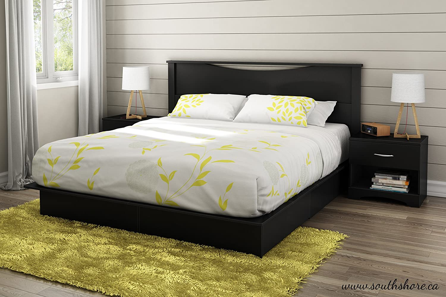 amazoncom south shore step one collection full platform bed pure black kitchen dining - Yellow Bed Frame