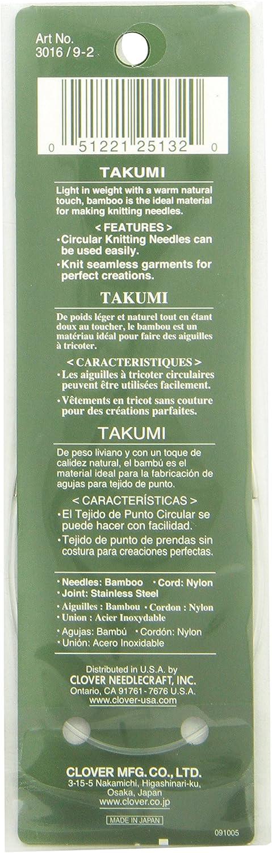 Bamboo Circular Knitting NeedlesTakumi 9-Inch Size 5