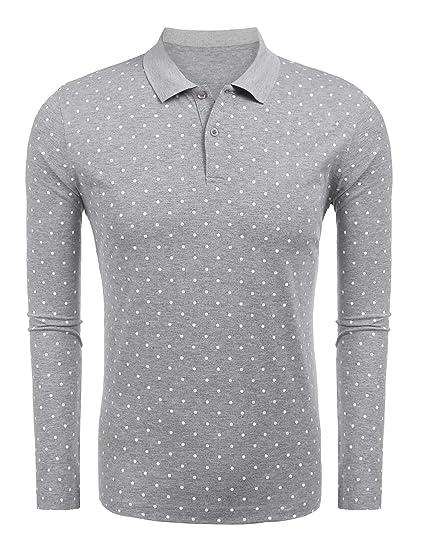 d63099f223 Kisshes Herren Poloshirt Baumwolle Slim Fit Langarmshirt Polka Dots Polo  Shirt Casual Punkt Polohemd Pullover Sweatshirt
