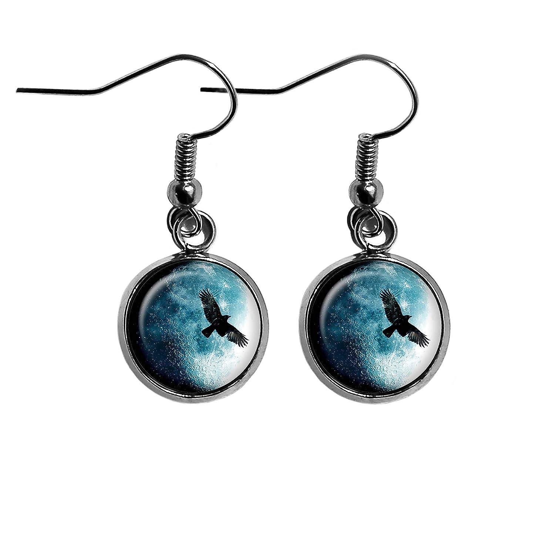Halloween Full Moon Raven Surgical Steel Earrings