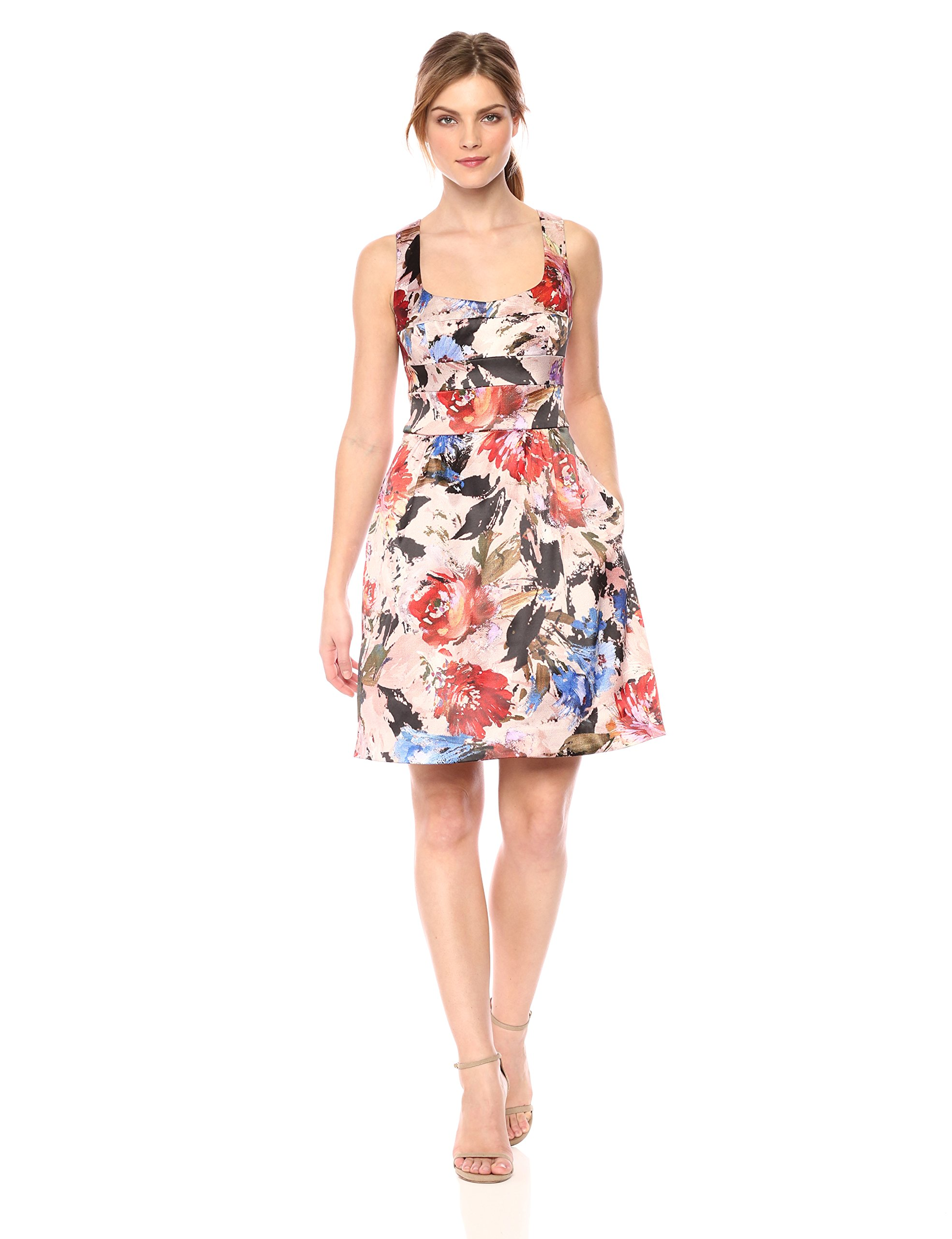 Nicole Miller New York Women's Printed Fit and Flare Cocktail Dress, Blush/Multi, 10